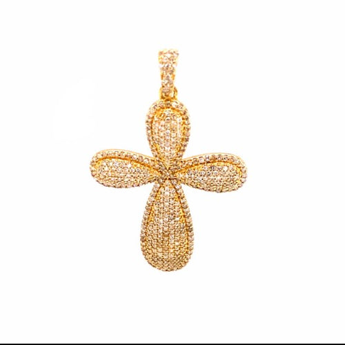 1.10Ctw 14K Yellow Gold Cross Pendant with Diamonds