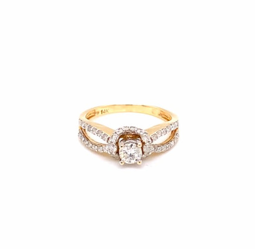 0.96CTW 14K Two Tone Engagement Ring Size 7