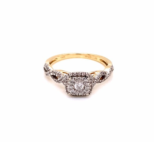 0.35Ctw Two Tone Square Ring Size 7.25