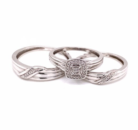 0.07 Ctw 10K White Gold Engagement Set Ring Size 7 & 10
