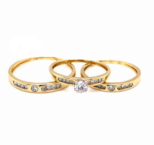 0.50CTW 10K Yellow Gold Engagement Set Ring Size 7 & 10
