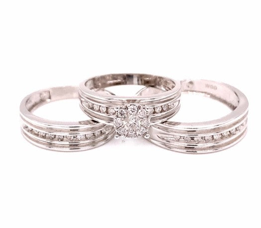 0.5Ctw 14k White Gold Trio Engagement Ring with Diamonds Size 7 & 10 8.70 Grams