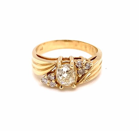 1.07 Ctw 14K Yellow Gold Diamond Rings Size 7 4.82 Grams