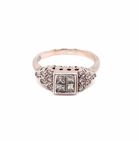 14K White Gold Diamond Ring Size 6.5 4.04 Grams