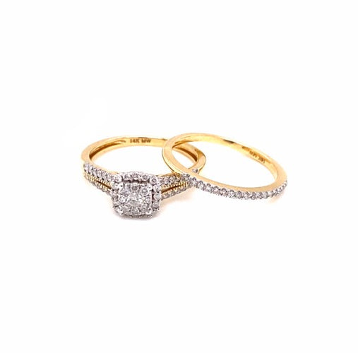 0.50 Ctw 14K Yellow Gold Engagement Set Ring Size 7 4.19 Grams