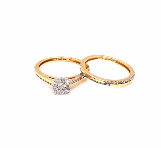 0.33 Ctw 14K Two Tone Rings Engagement Game Size 6.5 3.26 Grams