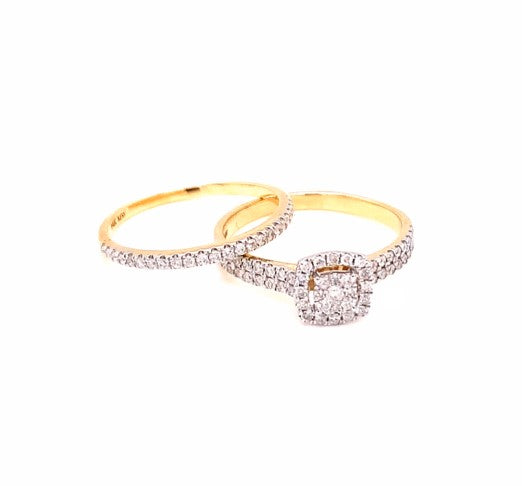 0.50 Ctw 14K Yellow Gold Engagement Set Ring Size 7 3.42 Grams