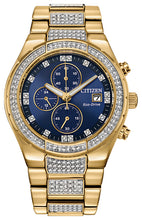 Citizen Crystal Yellow Gold Watch with Swarovski Crystals 42MM Model CA0752-58L
