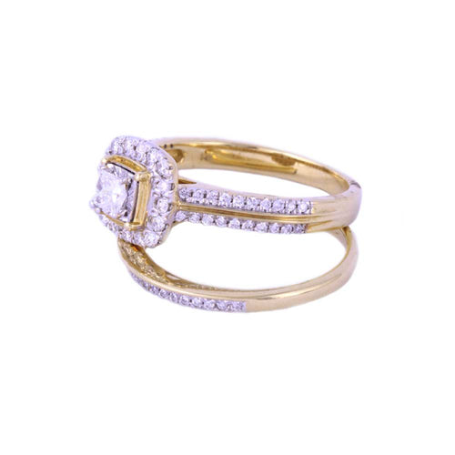 0.40Ctw 14K Yellow Gold Square Halo Style Wedding Rings with Diamonds Size 7 5.44 Grams