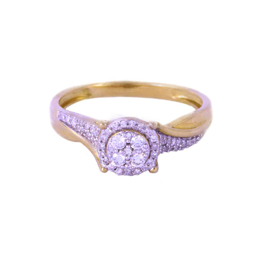 0.25Ctw 10K Two Tone Diamond Engagement Ring Size 7 2.33 Grams