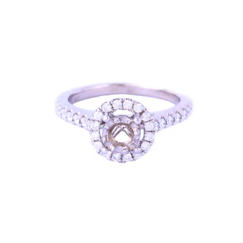 18K White Gold Semi-Joint Engagement Ring with Diamonds Size 4.75 3.89 Grams