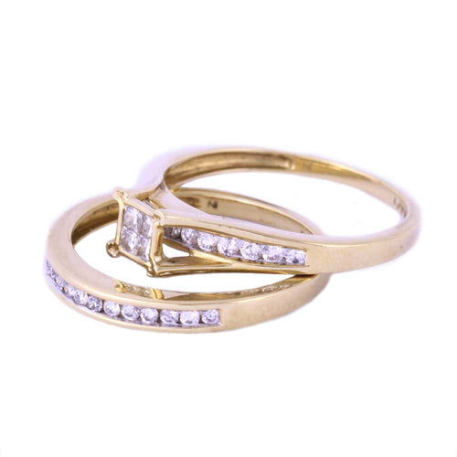 0.50CTW 10K Yellow Gold Wedding Rings with Diamonds Size 7 3.73 Grams