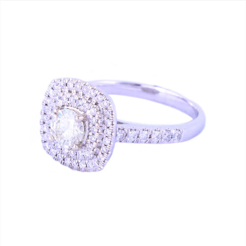 14K White Gold Halo Style Engagement Ring with Diamonds Size 7