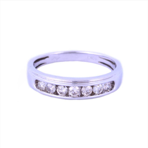 0.50Ctw 10K White Gold Wedding Band with Diamonds Size 10 3.73 Grams
