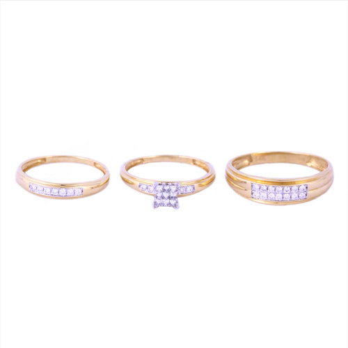 0.50Ctw 14K Two Tone Trio Set Wedding Rings with Diamonds Size 7.5 and 10 4.82 Grams