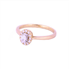 0.25Ctw 14K Rose Gold Halo Style Engagement Ring Size 7 2.49 Grams