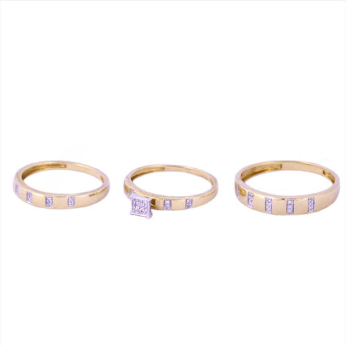 0.13Ctw 10K Two Tone Wedding Rings Set Trio Size 7 and 10 4.98 Grams