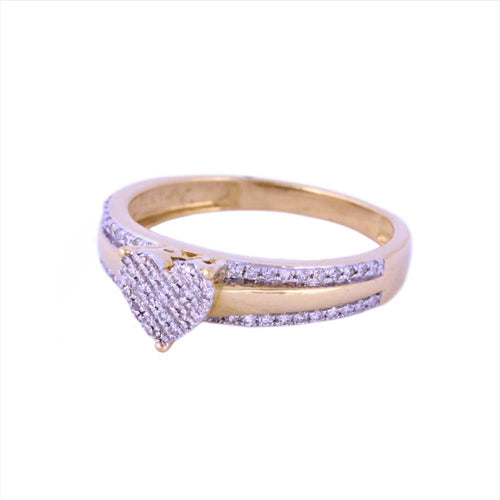 0.20Ctw 14K Two Tone Heart Style Engagement Ring with Diamonds Size7 2.80 Grams