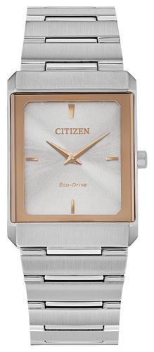 Citizen Stiletto Rose Gold Two Tone Watch Stainless Steel Sapphire Crystal 25x35MM Model EG6016-58A