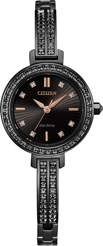 Citizen Woman Stainless Steel Watch with Swarovski Crystal 25MM Model EM0865-58E