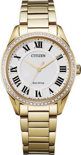 Citizen Yellow Gold Stainless Steel with Sapphire Crystal 32MM Model EM0882-59A