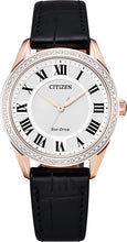 Citizen Rose Gold Stainless Steel with Sapphire Crystal 32MM Leather Strap Model EM0883-05A