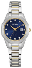 Citizen Yellow Gold Two Tone with 12 Diamonds and Sapphire Crystal 28MM Model EW2584-53L