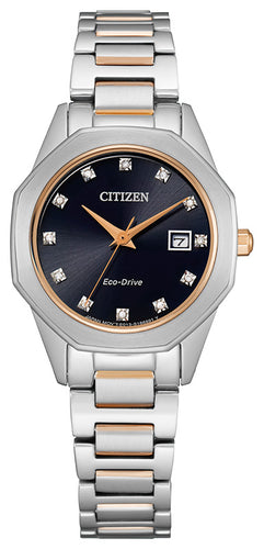 Citizen Two Tone Rose Gold with 12 Diamonds and Sapphire Crystal 28MM Model EW2586-58E