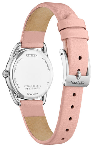 Citizen Woman Stainless Steel Watch Pink Leather Strap 30MM Model FE1210-07A