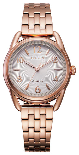 Citizen Rose Gold Watch Woman Mineral Crystal Model FE1213-50A