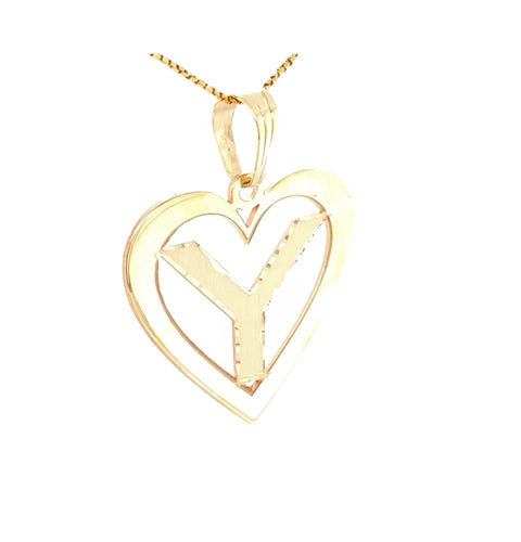 14K Yellow Gold Heart Charm Customizable 3/4 and 1 1/4 Letters