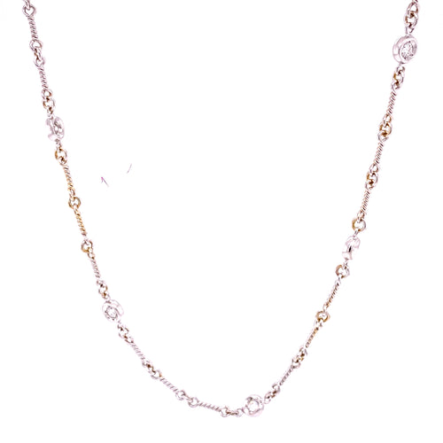 18K White Gold Diamond Necklace 15 Inches 6.99 Grams