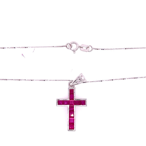 14K White Gold Pendant Cross Ruby