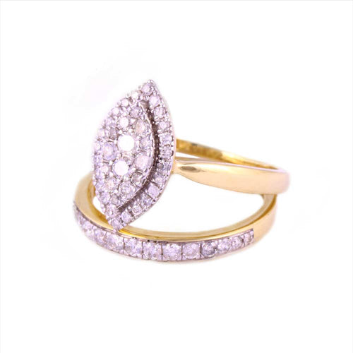 0.75Ctw 14K Yellow Gold Wedding Rings with Diamonds Size 7 4.67Gram
