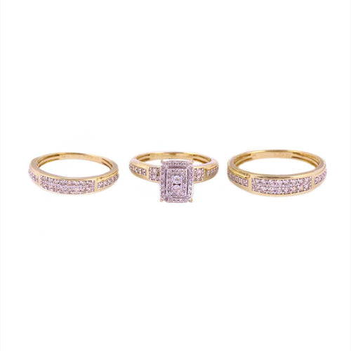 1.00Ctw 10K Yellow Gold Trio Wedding Rings Size 6.75 and 10 7.15 Grams