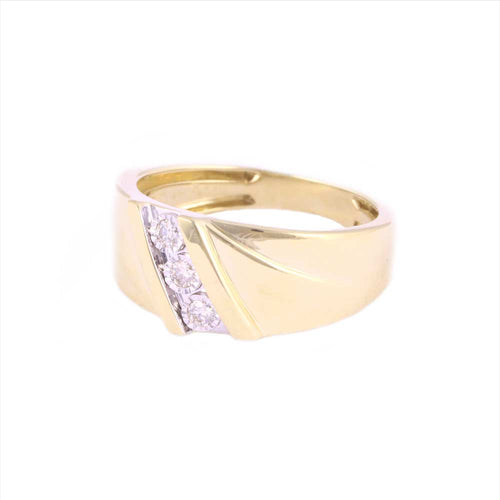 0.15Ctw 10K Yellow Gold Wedding Band with Diamonds Size 10 4.98 Grams
