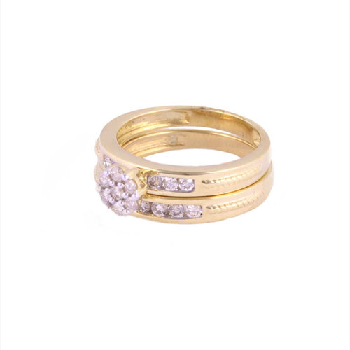 1.00Ctw 10K Yellow Gold Wedding Rings with Diamonds Size 7 5.60 Grams