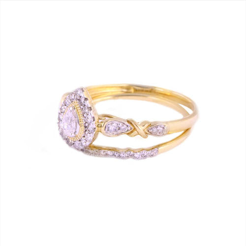 0.50Ctw 14K Yellow Gold Pear Style Wedding Rings Size 7 3.11 Grams