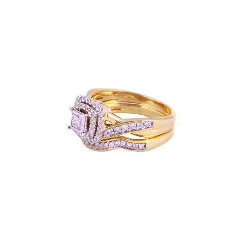 0.65Ctw 14K Yellow Gold Square Halo Style Wedding Rings Size 7 6.38 Grams