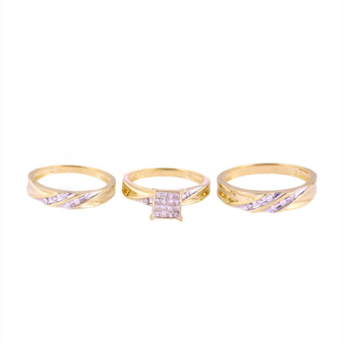 0.50Ctw 10K Yellow Gold Trio Wedding Rings Size 7 and 10 7.46 Grams
