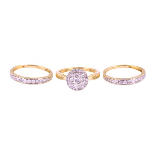 1.00Ctw 14K Yellow Gold Wedding Trio Ring Size 7 and 10 6.38 Grams