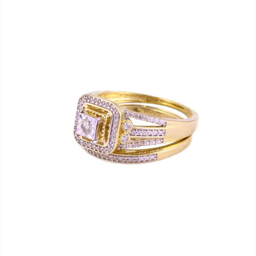 0.33Ctw 10K Yellow Gold Square Halo Style Wedding Rings Size 7.25 4.04 Grams