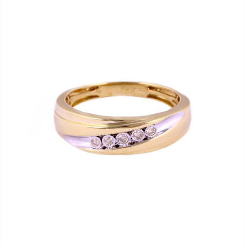 0.10Ctw 10K Yellow Gold Wedding Band with Diamonds Size 10 3.42 Grams