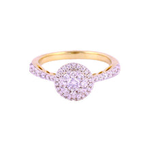 0.75Ctw 14K Yellow Gold Halo Style Engagement Ring Size 7.5 4.20 Grams