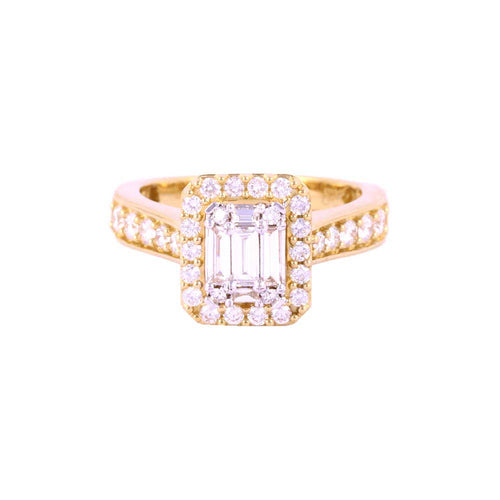 1.00Ctw 14K Yellow Gold Square Halo Style Engagement Ring Size 7.25 5.75 Grams