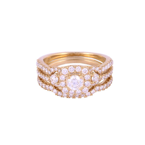 1.25 Ctw 10K Yellow Gold Halo Style Wedding Rings Size 7.25 6.06 Grams
