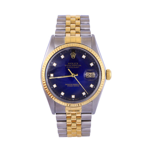 1987 18K Two Tone Rolex Date Just Blue Diamond Dial Jubilee Band Ref #16013 Serial #9726720   20 Links 62.8Dwt Comes With Box