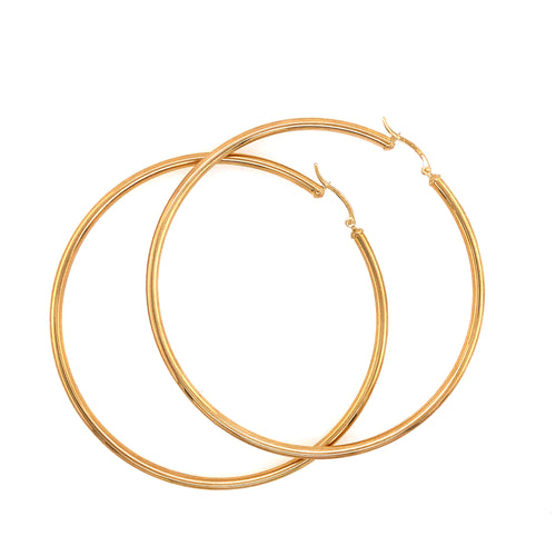 10K Yellow Gold Flat Hoop 3MM / 80MM 6.22 Grams