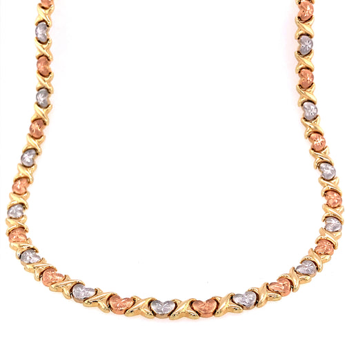 14K Three Colors Stamped Style Necklace