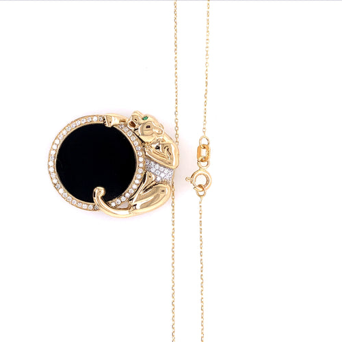 14K Yellow Gold Black Panther Necklace with Black Stones and Cubic Zirconia 9.79 Grams